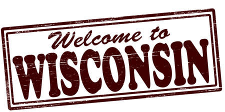 felicitous: Stamp with text welcome to Wisconsin inside, vector illustration