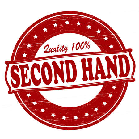 second hand: Stamp with text second hand inside, vector illustration Illustration