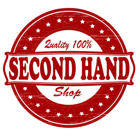 second hand: Stamp with text second hand shop inside, vector illustration Illustration