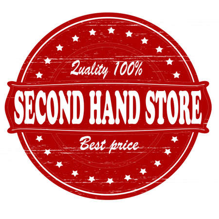 second hand: Stamp with text second hand store  inside, vector illustration