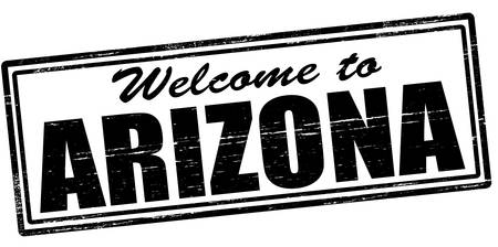 felicitous: Stamp with text welcome to Arizona inside, vector illustration