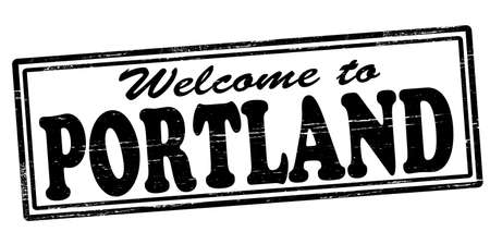 felicitous: Stamp with text welcome to Portland inside, vector illustration