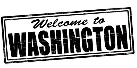 felicitous: Stamp with text welcome to Washington inside, vector illustration