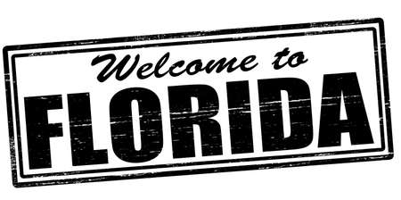 felicitous: Stamp with text welcome to Florida inside, vector illustration