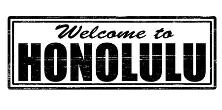 felicitous: Stamp with text welcome to Honolulu inside, vector illustration Illustration