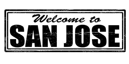 felicitous: Stamp with text welcome to San Jose inside, vector illustration