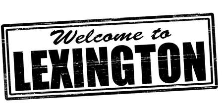 felicitous: Stamp with text welcome to Lexington inside, vector illustration