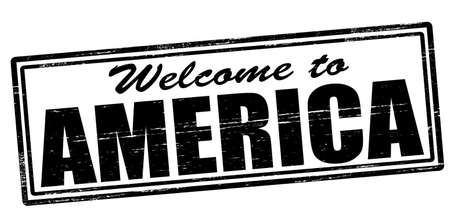 felicitous: Stamp with text welcome to America inside, vector illustration