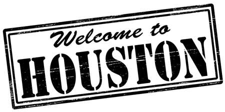 felicitous: Stamp with text welcome to Houston inside, vector illustration
