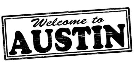 felicitous: Stamp with text welcome to Austin inside, vector illustration