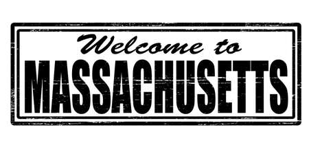 felicitous: Stamp with text welcome to Massachusetts inside, vector illustration