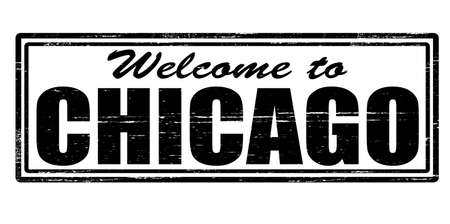 felicitous: Stamp with text welcome to Chicago inside, vector illustration