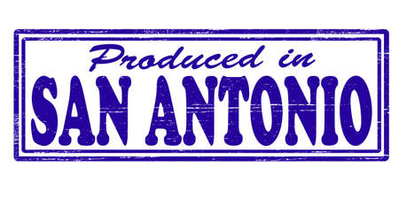Stamp with text produced in San Antonio inside, vector illustration Vector