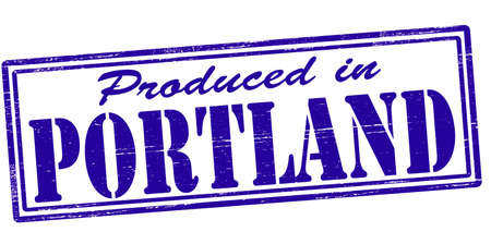 Stamp with text produced in Portland inside, vector illustration Vector
