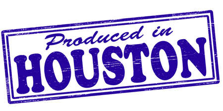 houston: Stamp with text produced in Houston inside, vector illustration Illustration