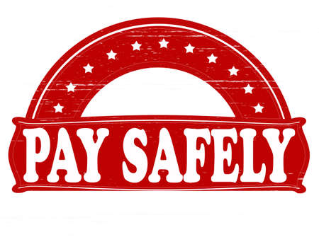 safely: Stamp with text pay safely inside, vector illustration