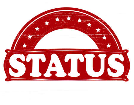 status: Stamp with word status inside, vector illustration
