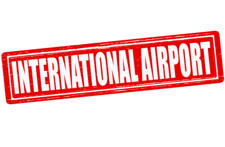 aerodrome: Stamp with text international airport inside Illustration