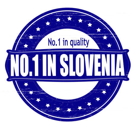 Stamp with text no one in Slovenia inside, illustration  Illustration