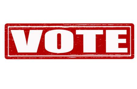 suffrage: Stamp with word vote inside, illustration Illustration