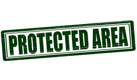 shielded: Stamp with text protected area inside, vector illustration