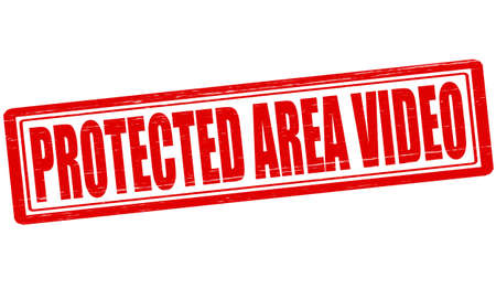 shielded: Stamp with text protected area video inside, vector illustration