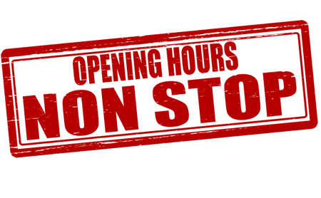 opening hours: Stamp with text opening hours non stop inside Illustration