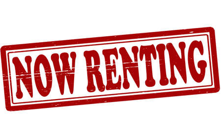 renting: Stamp with text now renting inside, vector illustration