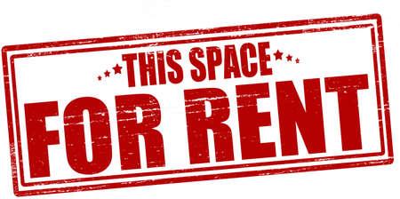 Stempel met tekst deze ruimte te huur binnen, vector illustratie
