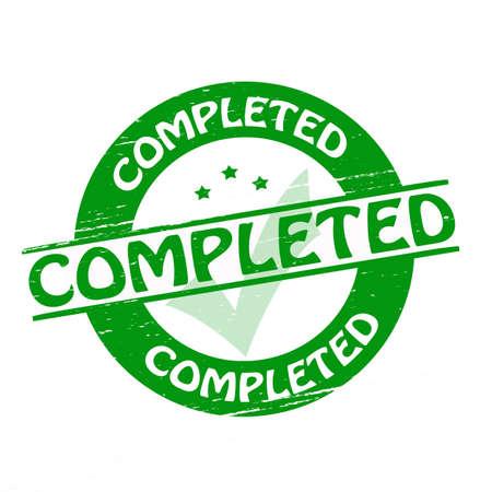 completato: Timbro con la parola completato dentro, illustrazione vettoriale