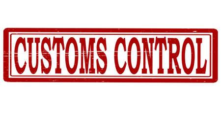 aduana: Sello con el control aduanero de texto interior, ilustraci�n vectorial