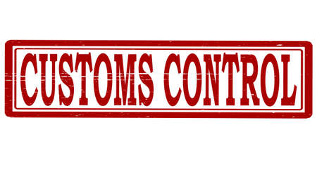 Stamp with text customs control inside, vector illustration Çizim