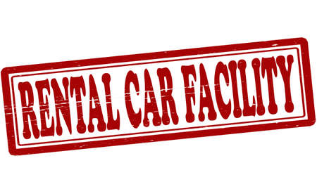 facility: Stamp with text rental car facility inside illustration