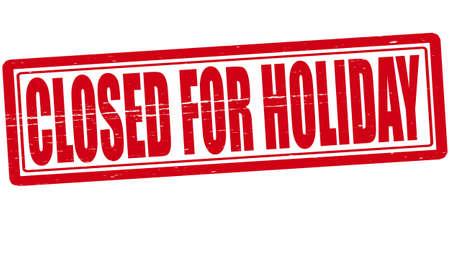 Stempel met tekst gesloten voor vakantie in illustratie