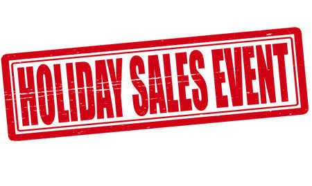 happening: Stamp with text Holiday sales event inside illustration