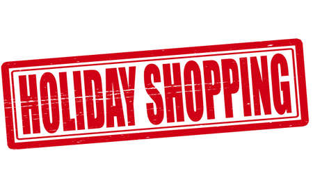 holiday shopping: Stamp with text Holiday shopping inside illustration