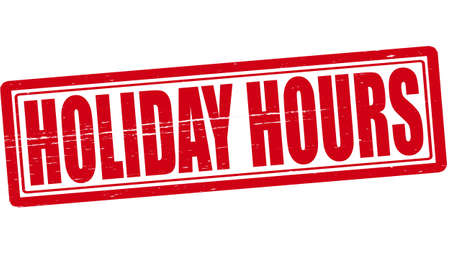 Stamp with text Holiday hours inside illustration Illustration