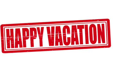 Stamp with text happy vacation inside illustration