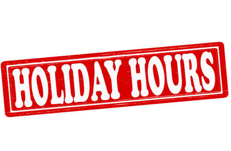 Stamp with text holiday hours inside illustration