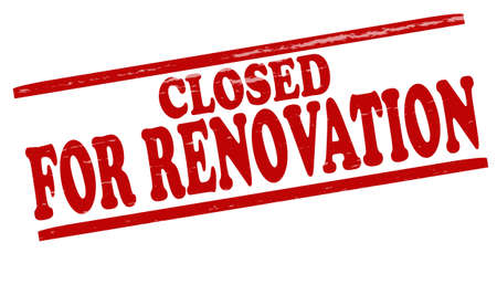 renovation: Stamp with text closed for renovation inside illustration