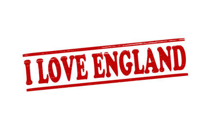 fondness: Stamp with text i love England inside illustration