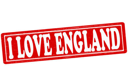 fondness: Stamp with text i love England inside, vector ilustration