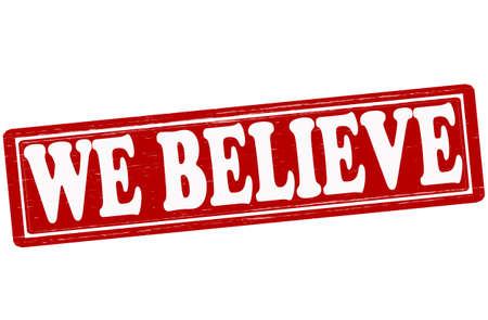 we: Stamp with text we believe inside