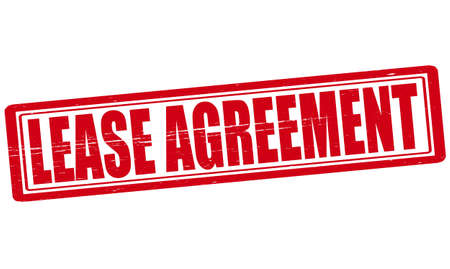 Stamp with text lease agreement inside