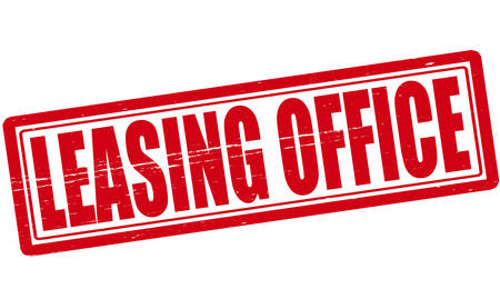 leasing: Stamp with text leasing office inside