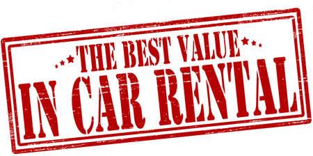 Stempel mit Text den besten Wert in der Autovermietung im Inneren, Vektor sagenhaft