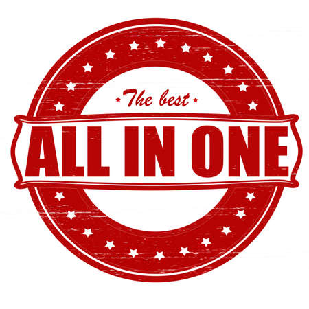 all one: Stamp with text all in one inside, vector ilustration
