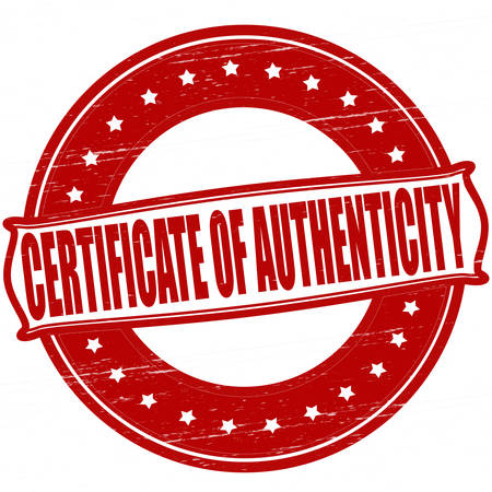 originality: Stamp with text certificate of authenticity inside, vector ilustration Illustration