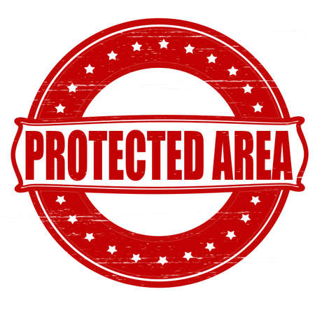 shielded: Stamp with text protected area inside, vector ilustration