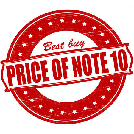 Stamp with text price of note ten inside, vector ilustration Vector